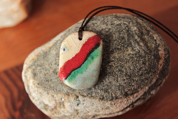organic porcelain pendant with red stripe