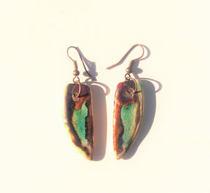 orange and brown statement porcelain earrings