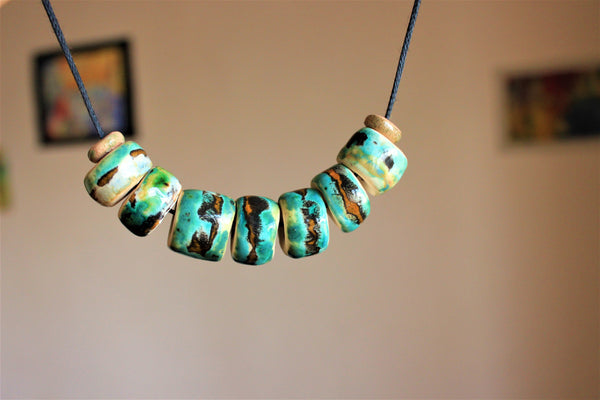 beaded green tribal ceramic necklace