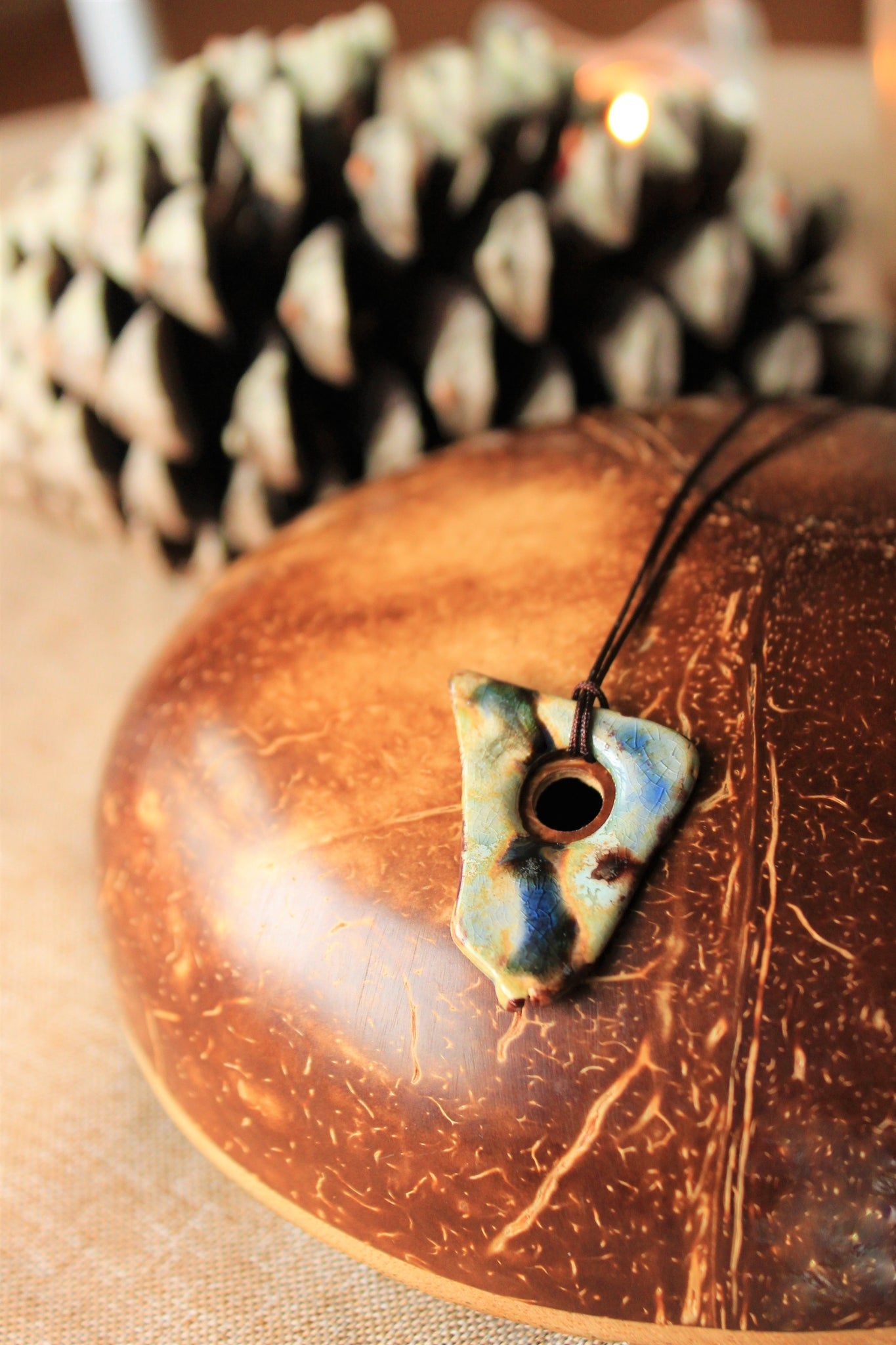 organic shape ceramic pendant with earth colors