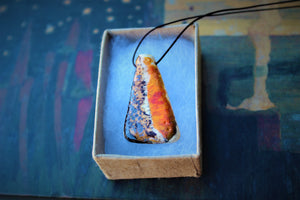 Orange Snake Skin Ceramic Pendant