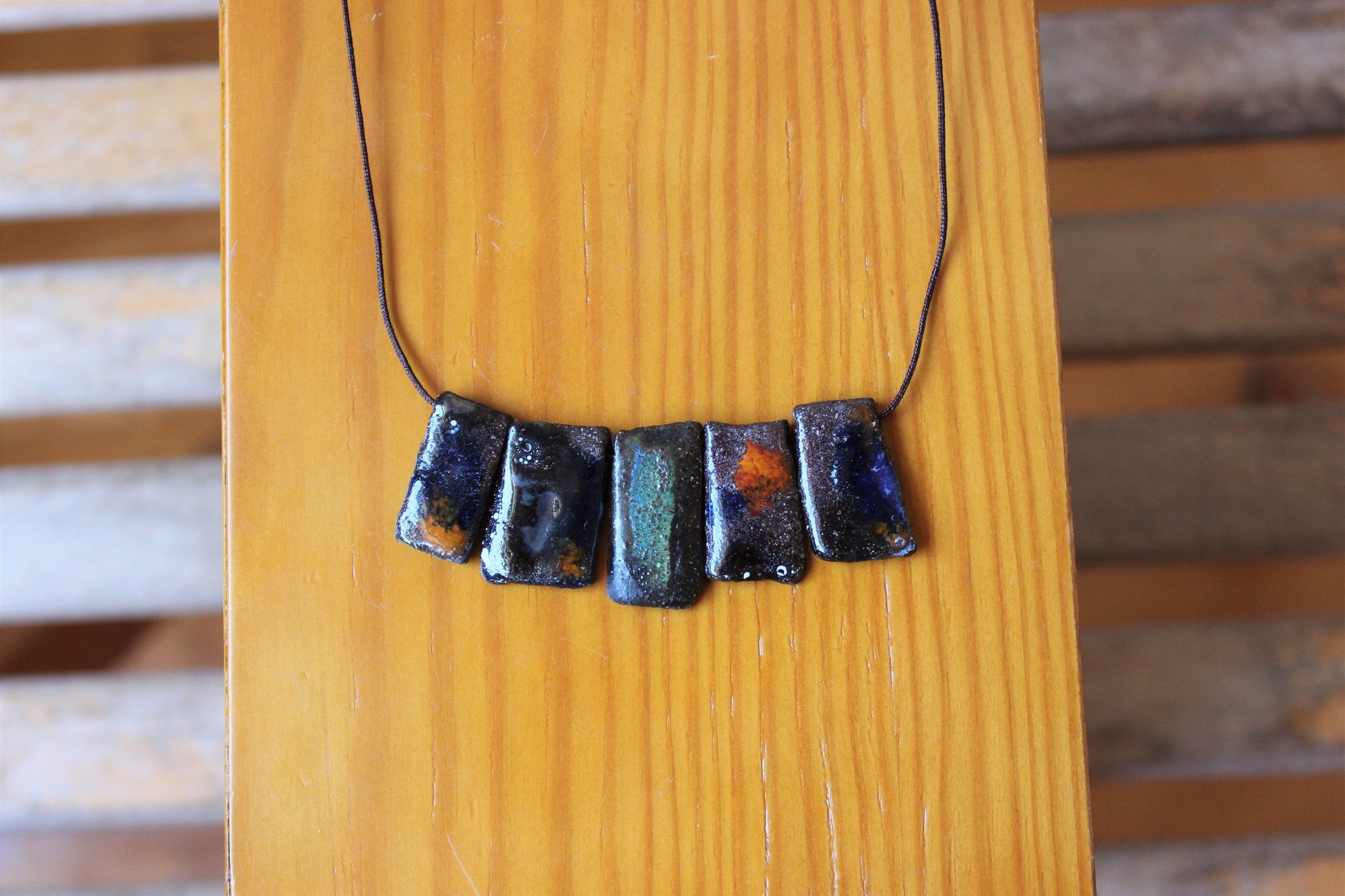 dark ceramic rectangles necklace