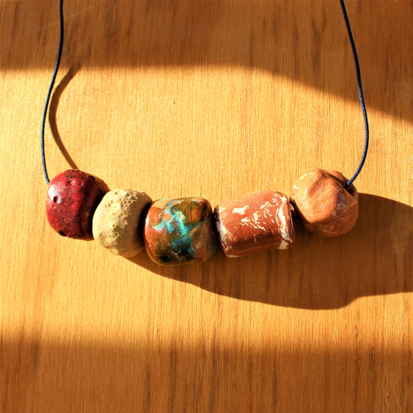colorful earthy beaded ceramic necklace