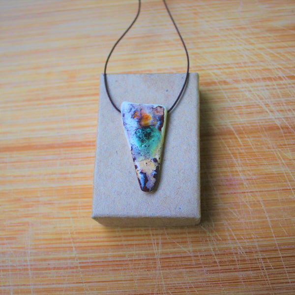 softly colored porcelain pendant