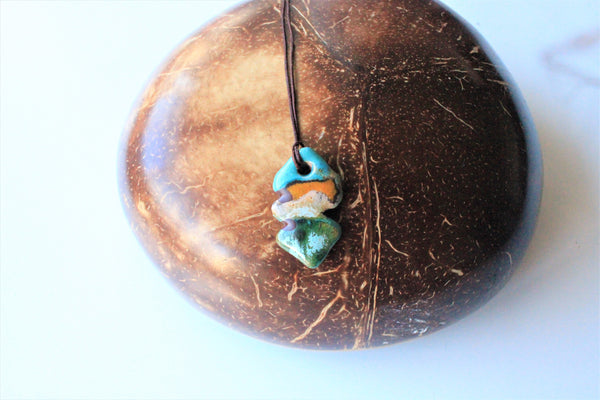 Yellow blue and green Ceramic Pendant