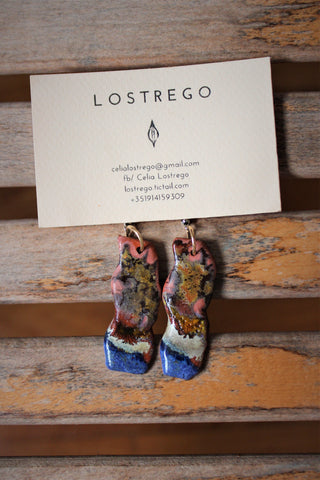 exotic colorful statement porcelain earrings