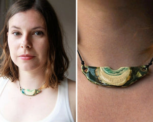 white and green porcelain statement necklace