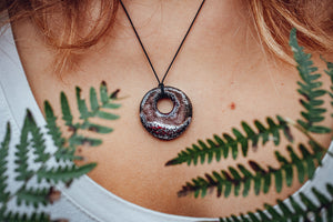 Round burgundy ceramic pendant necklace