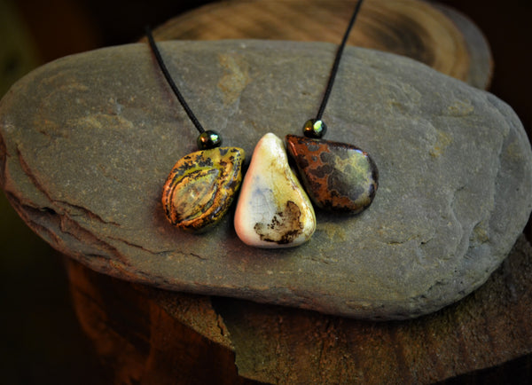 Snake skin witchcraft porcelain drops necklace