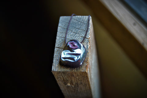 Minimal black and purple porcelain nerikomi pendant