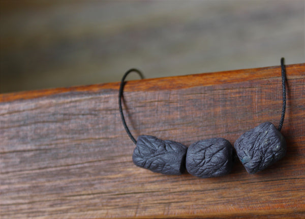 black porcelain textured beaded necklace