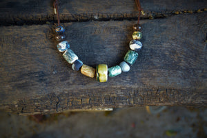 Tribal colorful beaded porcelain and ceramic necklace