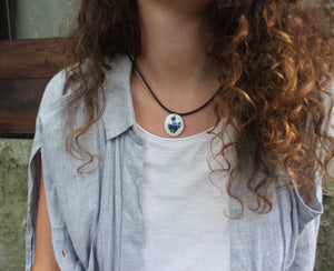 Nerikomi porcelain black white and blue pendant necklace