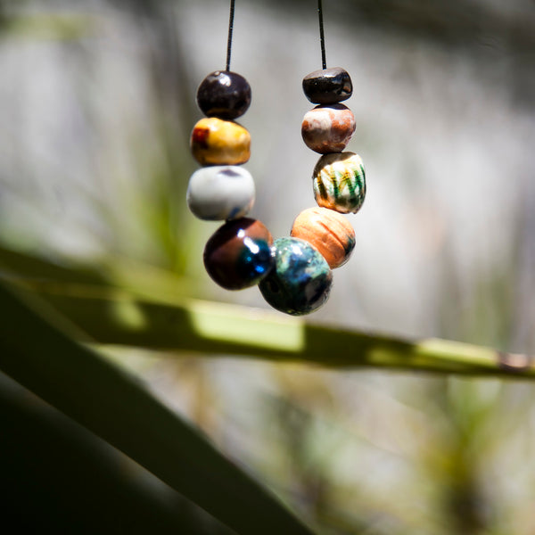 bright colorful beaded porcelain necklace