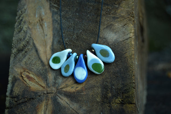Avocado green and blue porcelain necklace