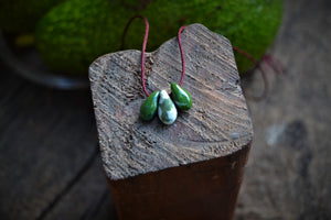 Tiny green and white drops porcelain necklace