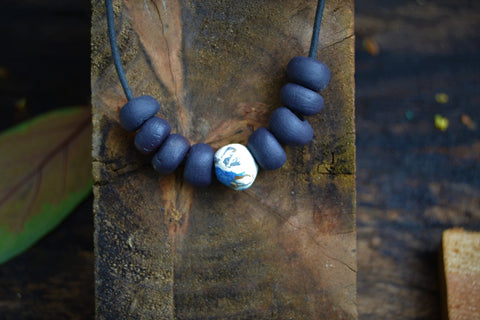 Black beaded porcelain nerikomi necklace