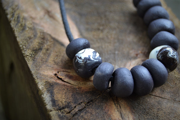 Beaded black and white Nerikomi porcelain necklace