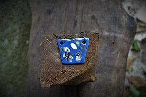 Intense blue Nerikomi rectangle porcelain pendant