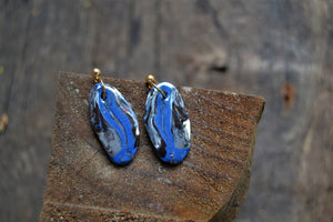Bright blue porcelain Nerikomi earrings