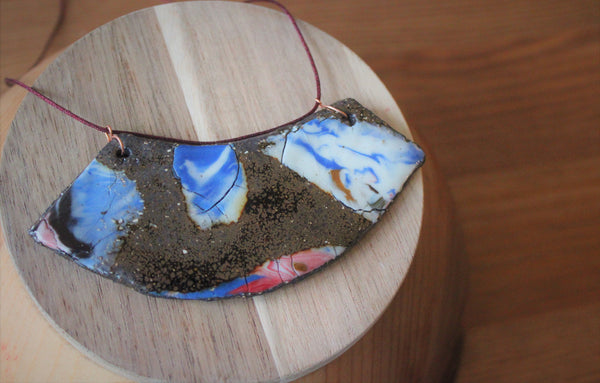 rustic colorful ceramic necklace