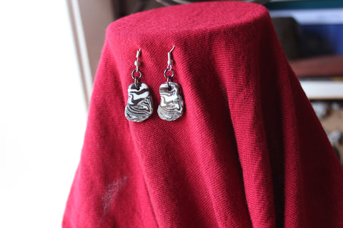 zebra black and white porcelain earrings