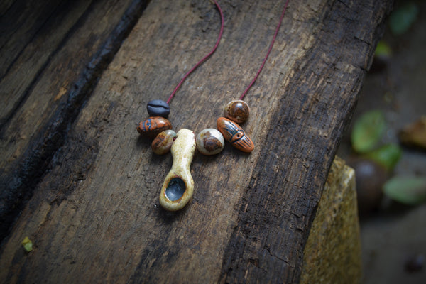 Pagan rustic boho ceramic necklace