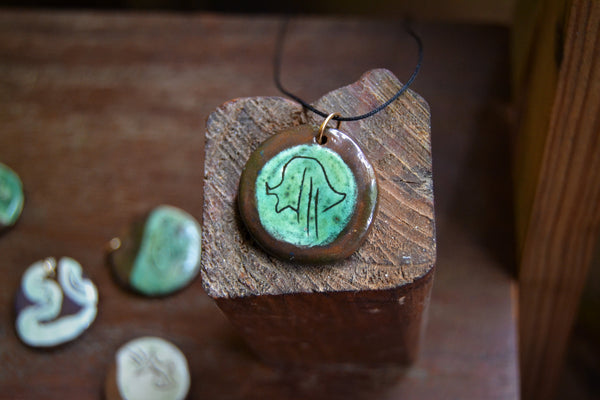 Boho style green and brown ceramic pendant necklace
