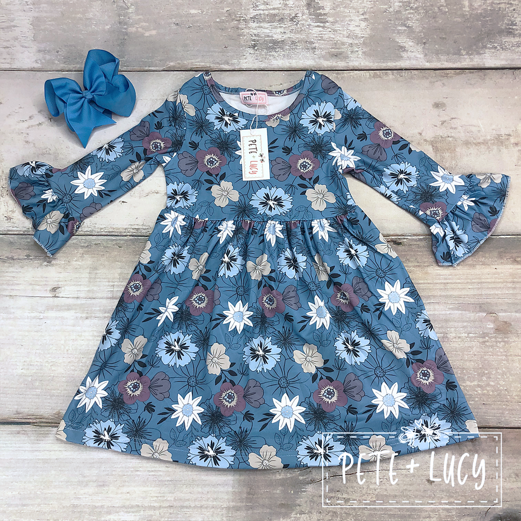 NEW! Long Sleeve Flower Dress