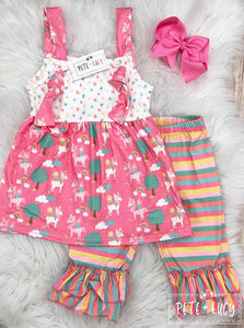 Mixed Print Capri Set
