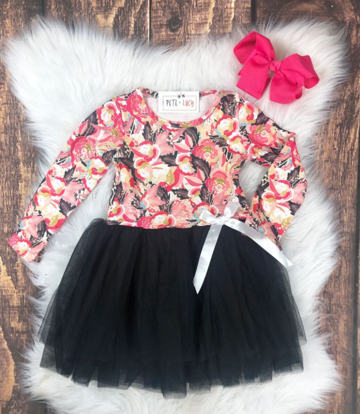 Long Sleeve Floral Tutu Dress
