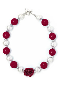 Bubblegum Necklace - Burgundy & Pearl