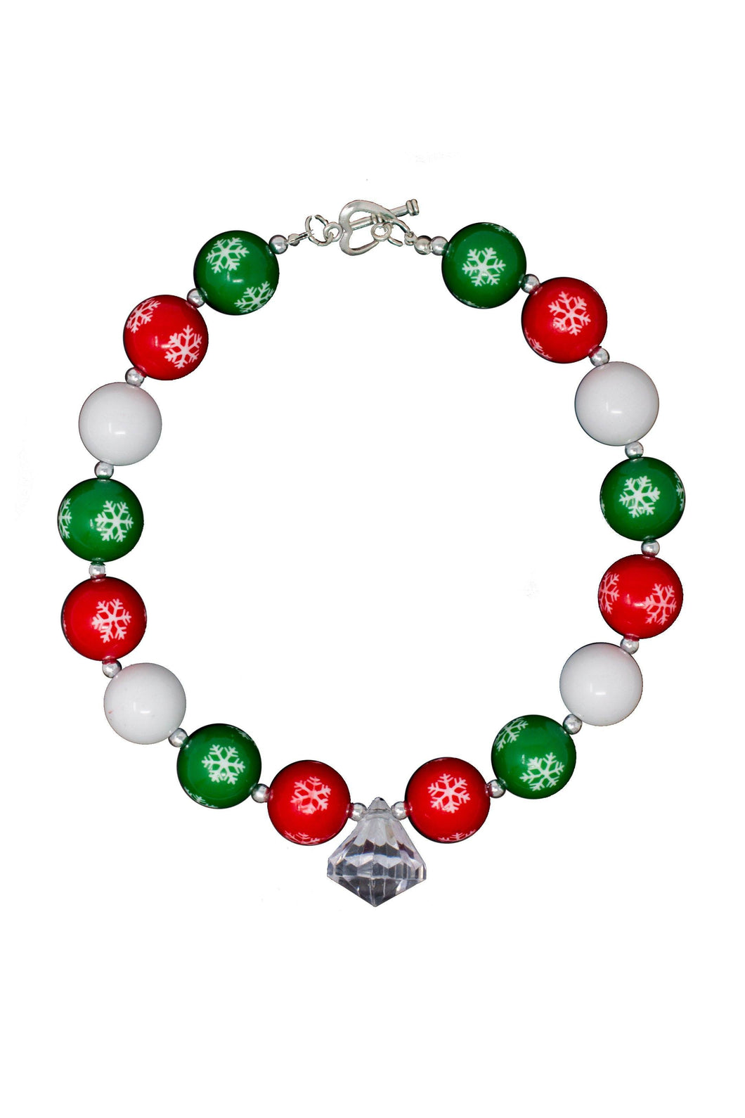 Bubblegum Necklace - Red & Green Snowflake with Charm