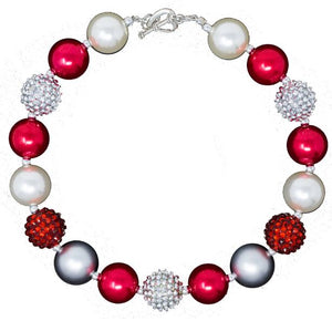 Bubblegum Necklace - Red & Silver