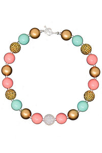 Bubblegum Necklace - Coral & Mint