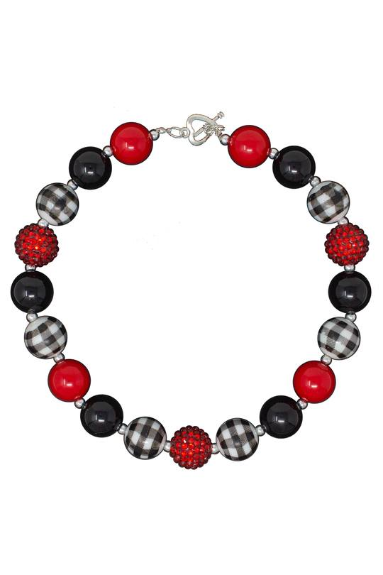 Bubblegum Necklace - Red & Black Plaid