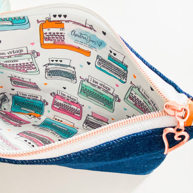 Vintage Typewriter Denim Pouch
