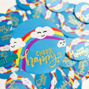 Choose Happy Woven Sticker Patch