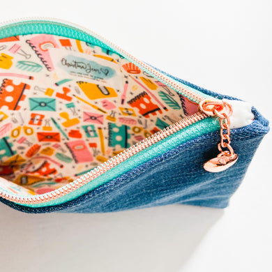 Stationary Addict Denim Wristlet/Pouch