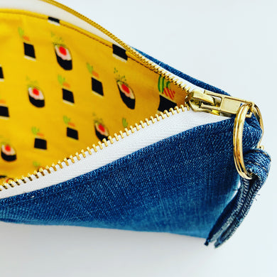 Sushi Roll Denim Pouch