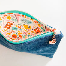 Load image into Gallery viewer, Stationary Addict Denim Wristlet/Pouch