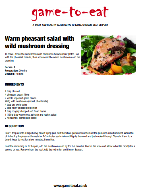 Warm Pheasant Salad