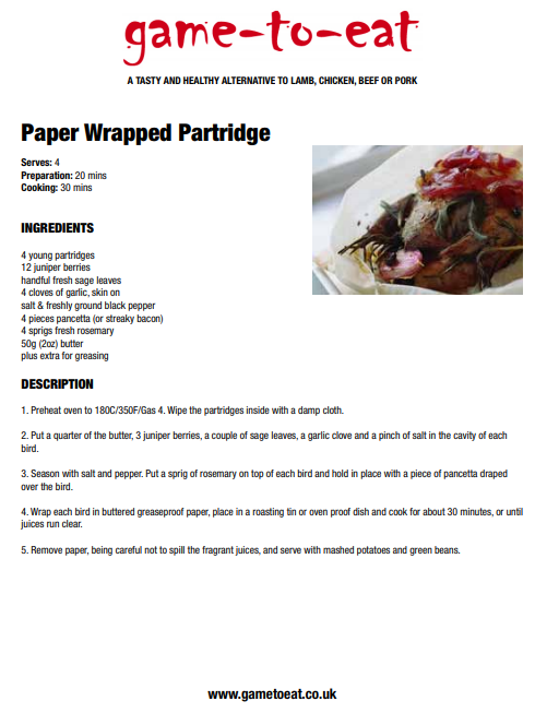 Paper wrapped Partridge - Game to Eat