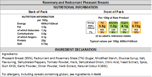Rosemary and Redcurrant Marinated Pheasant Breast