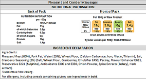 Pheasant and Cranberry Sausage Nutritional info