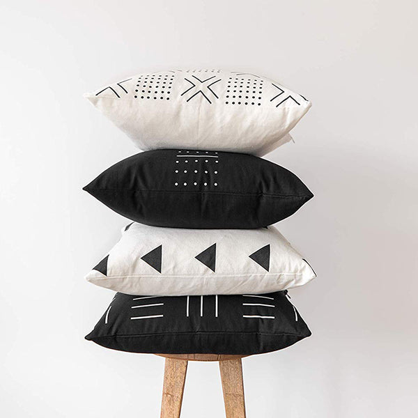 Black and White Printed Cushion Cover