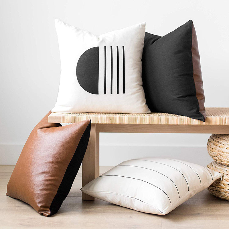 Boho Design Home Decorative Black and White Cotton Block Cushion Cover