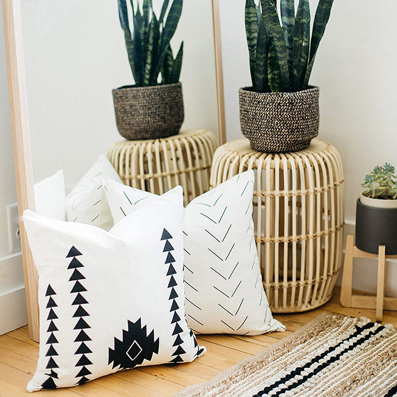 Boho Design Home Decorative Black and White Cotton Block Cushion Cover Bundle