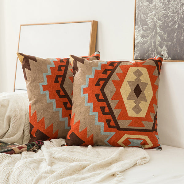 Boho Macrame Design Bohemia Geometric Embroidery Cushion Cover