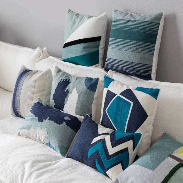 Geometric Block Cotton Art Embroidery Cushion Cover
